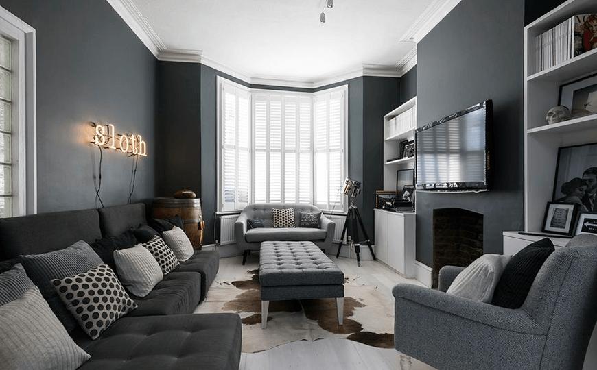 graues Wohnzimmer Arrangement