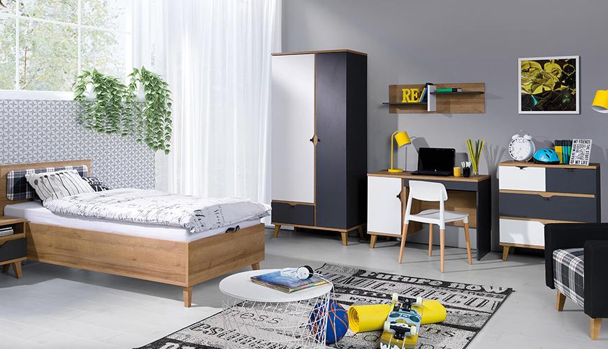 Jugendzimmermöbel für einen Jungen mit gelben Dekoeinlagen Temero III