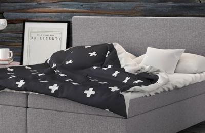 Ein modernes Bett für ein kleines Schlafzimmer